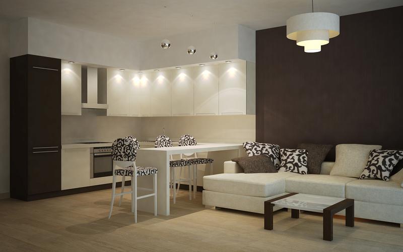Дизайн гостиной-кухня 18 кв.м