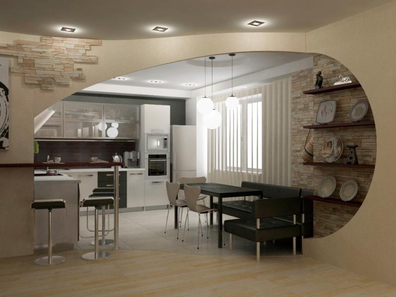 Дизайн кухни гостиной 20 кв м — фото с зонированием