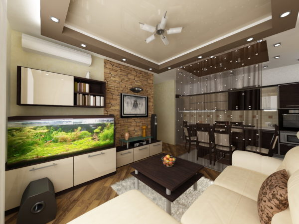 Разделение гостиной и кухни перегородкой из нитяных штор