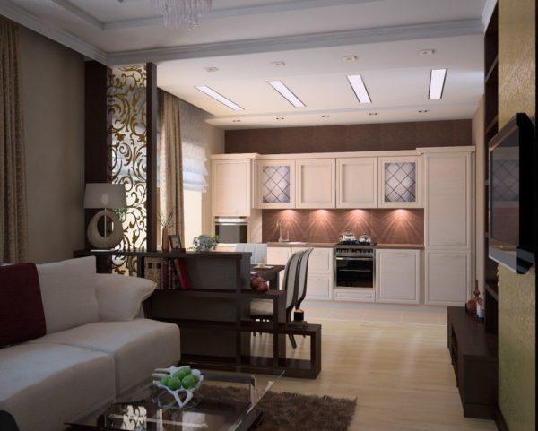 Каштановый и кремовый в гостиной-кухне