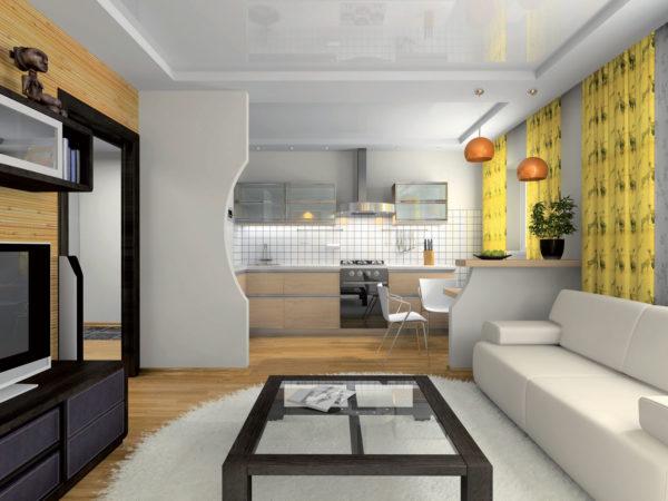Гостиная-кухня с перегородкой в желтыми пинтами