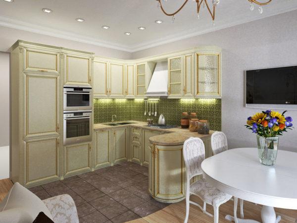 Кухня из светлого дерева и невысокой перегородкой