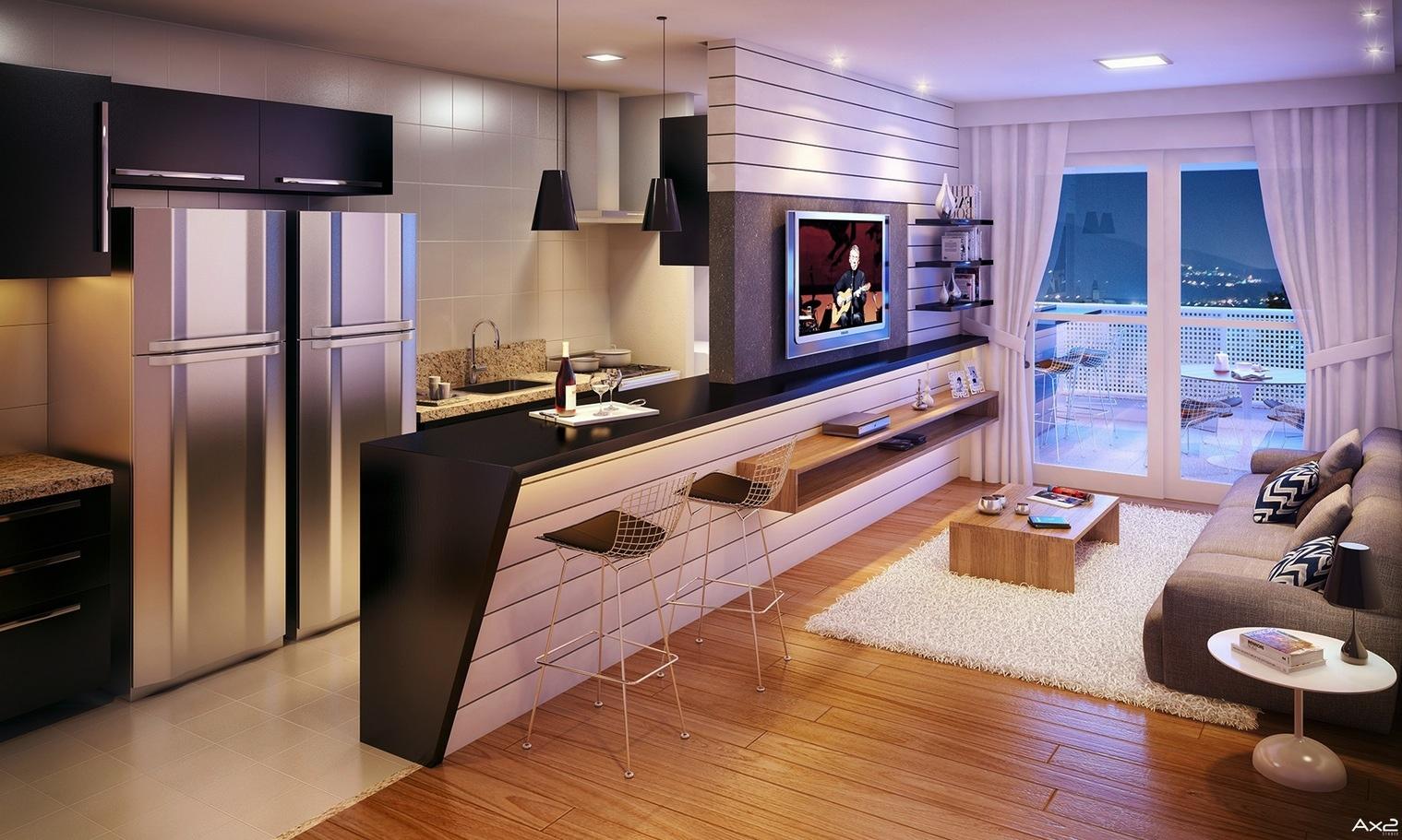 Интерьер студии кухня и гостиная фото в коричневых и бежевых цветах