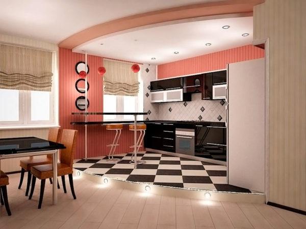Розовый интерьер в гостиной-кухне