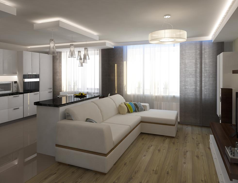 Интерьер квартир кухня совмещенная с залом