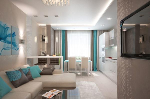 Гостиная-кухня со светлой мебелью