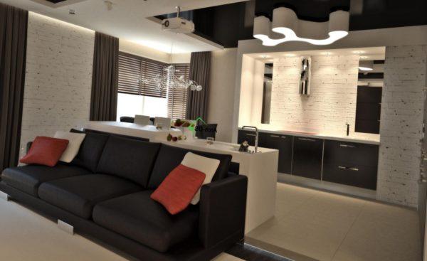 Светлые и серые тона в гостиной и кухне