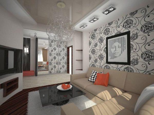 комбинованные обои в дизайне гостиной