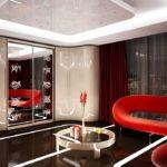 угловой шкаф купе в дизайне современной гостиной