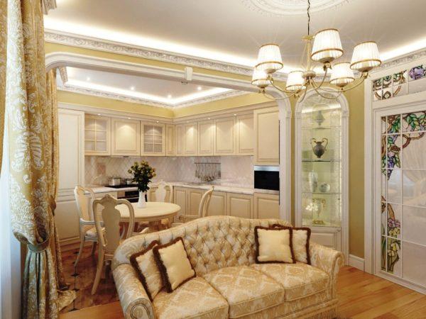 натуральные материалы в оформлении кухни гостиной