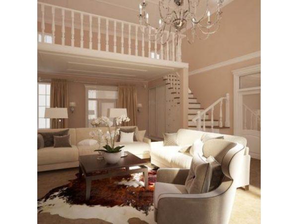 гостиная с лестницей