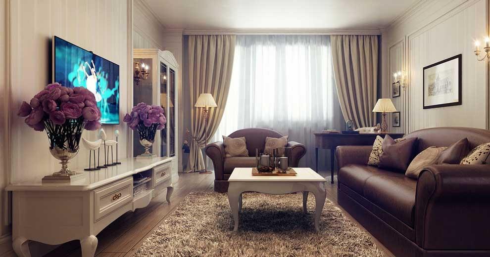 Гостиная с коричневым диваном дизайн фото