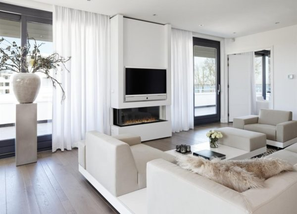 оформление гостиной камином и телевизором
