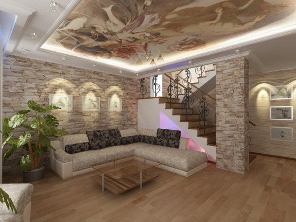 Дизайн комнаты с лестницей на второй этаж фото