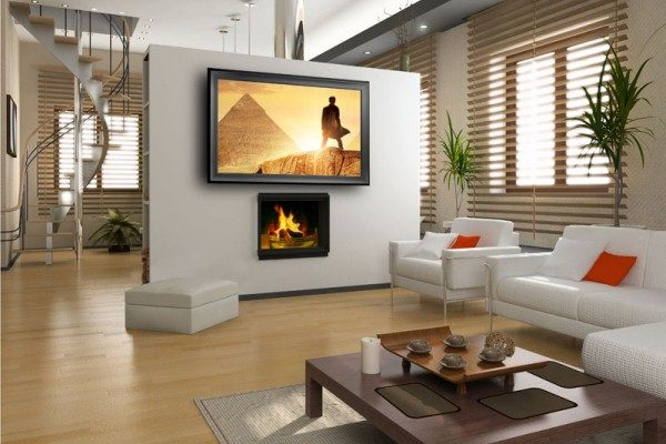 камин и телевизор в гостиной