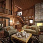 оригинальный дизайн гостиной из дерева