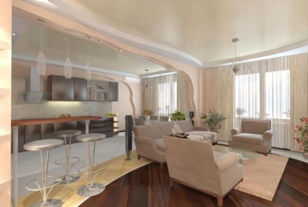 потолочная конструкция из гипсокартона для кухни-гостиной