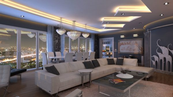 интерьер с большим диваном