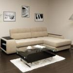 угловой диван в интерьере маленькой гостиной с фото