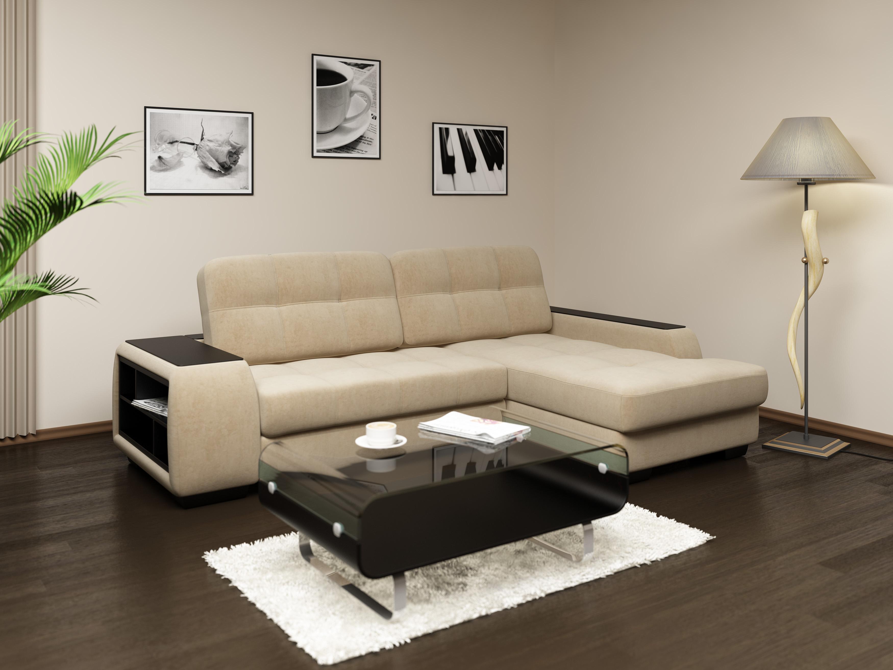 угловой диван в интерьере маленькой гостиной комнаты с фото
