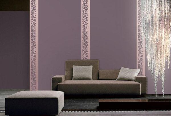 обойные вставки в дизайне гостиной