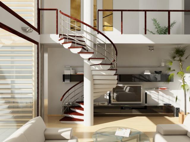 Интерьер гостиной с лестницей на второй этаж фото в частном доме