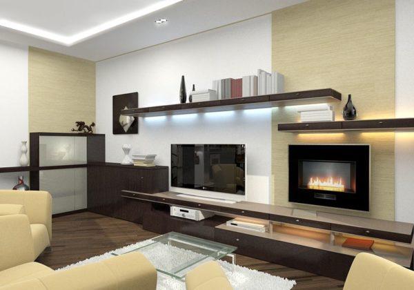 гостиная с телевизором в современном стиле