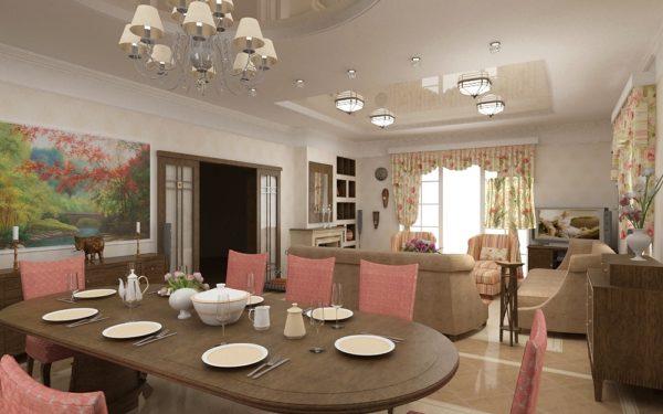 натяжной потолок в интерьере кухни-гостиной