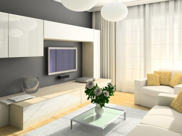 светлый интерьер современной гостиной