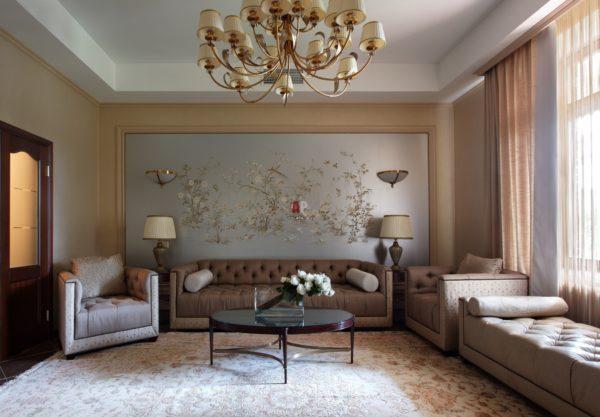 комбинированные обои в дизайне гостиной
