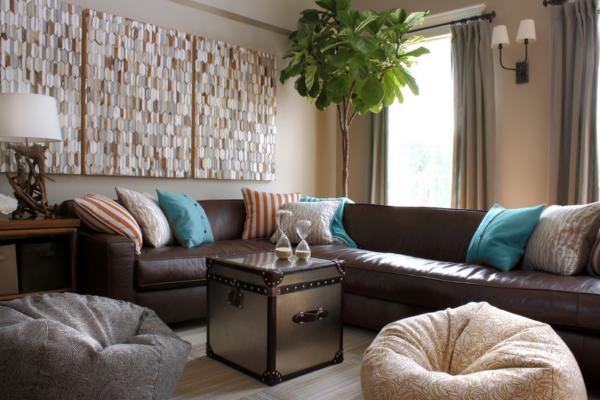 дизайн гостиной с креслом-мешком