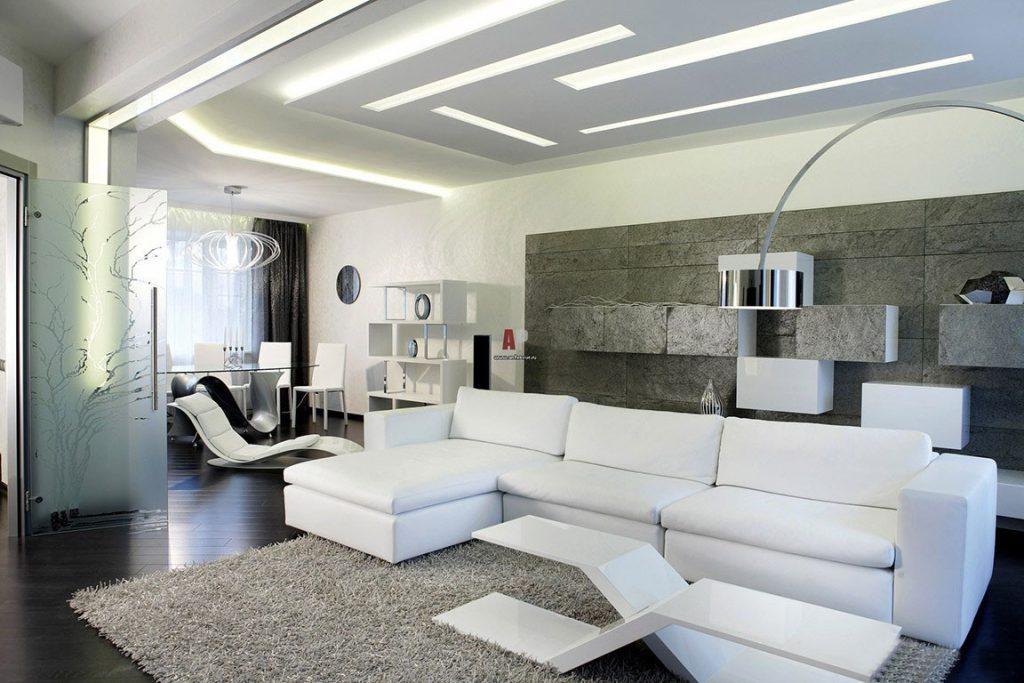 Дизайн гостиной хай тек фото