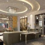 подвесной потолок в интерьере гостиной