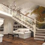 большая белая лестница на второй этаж в частном доме