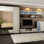 шкаф купе в стиле минимализм в интерьере гостиной комнаты