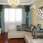 современные шторы в декоре гостиной