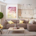 коричневый диван с дизайнерским креслом