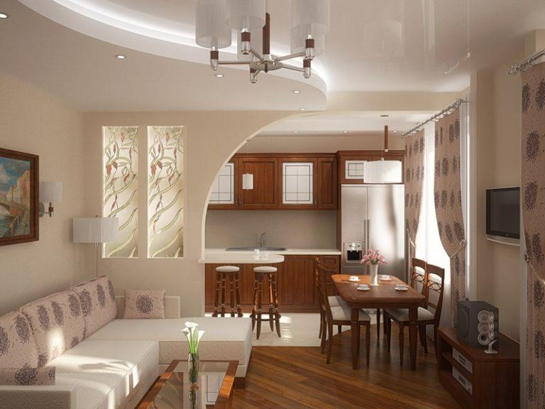 Фото дизайна зала совмещенного с кухней в частном доме