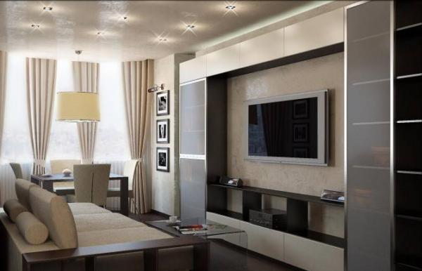 светлые оттенки в гостиной комнате