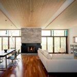 подвесной потолок в гостиной совмещенной с кухней