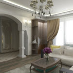 арка и колоны в интерьере гостиной