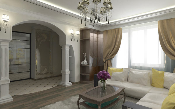 арка и колонны в интерьере гостиной