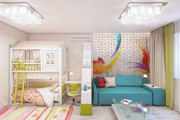 гостиная детская в одной комнате дизайн фото