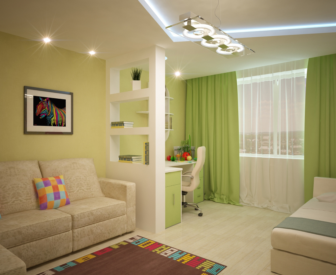 Дизайн гостиной-детской в одной комнате