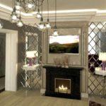 Декорирование зеркалами в гостиной