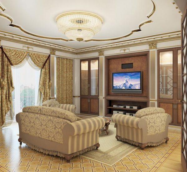 Потолок декорированный золотом