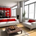 белый и красные подушки