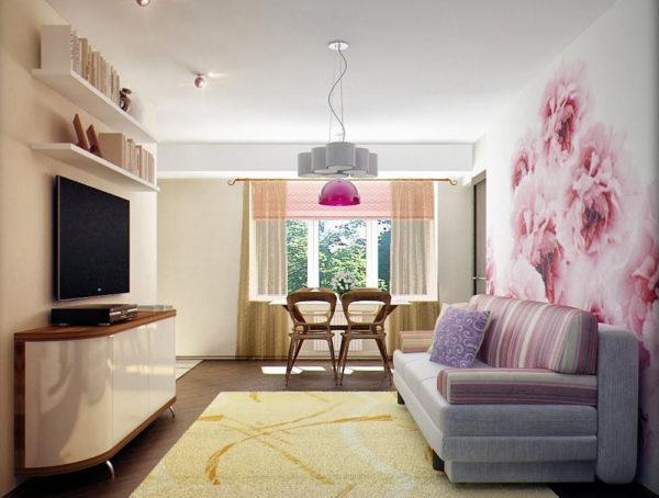 нежнейшие розовые цветы во всю стену