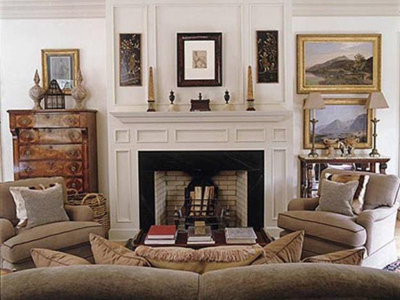 Камин в классическом интерьере гостиной фото