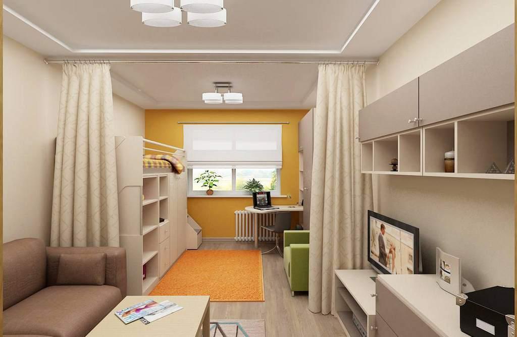 Гостиная и детская в одной комнате 18 кв м (51 фото)